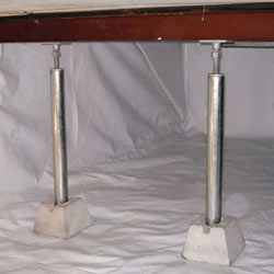 crawl space jack posts installed in an encapsulated crawl space in Arnprior