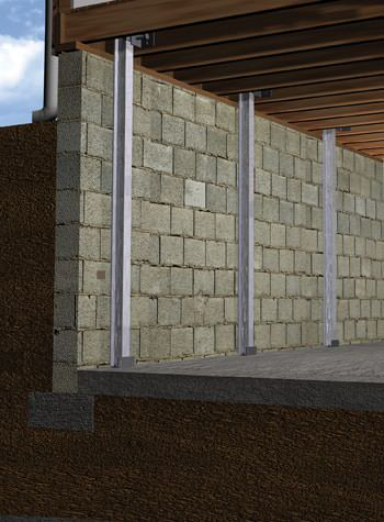 foundation wall I-beam system installation illustration
