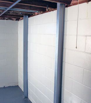 A PowerBrace™ i-beam foundation wall repair system in Ottawa