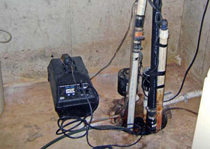 Pedestal sump pump system installed in a home in Rockcliffe