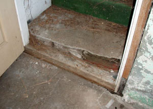 A flooded basement in Navah where water entered through the hatchway door