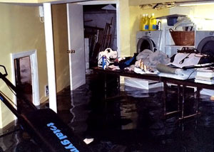 A laundry room flood in Rockland, with several feet of water flooded in.