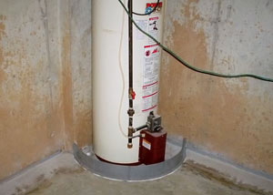 A water heater in Greely that's been protected by the FloodRing® and a perimeter drain system.